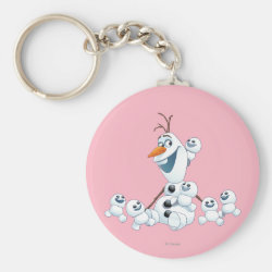 Basic Button Keychain with Olaf With Snowgies design