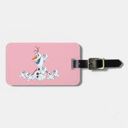 Small Luggage Tag with leather strap with Olaf With Snowgies design