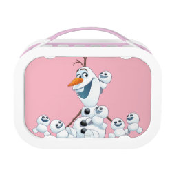 Pink yubo Lunch Box with Olaf With Snowgies design
