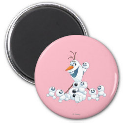 Round Magnet with Olaf With Snowgies design