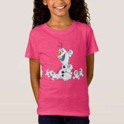 Girls' Fine Jersey T-Shirt with Olaf With Snowgies design