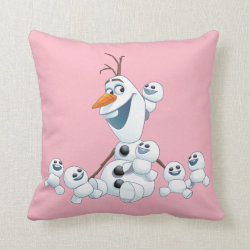 Cotton Throw Pillow with Olaf With Snowgies design