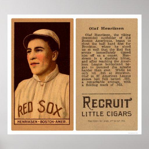 Olaf Henriksen Red Sox Baseball 1912 Posters