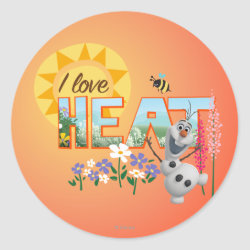 Round Sticker with Olaf: I Love Heat design