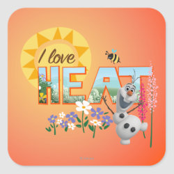 Square Sticker with Olaf: I Love Heat design