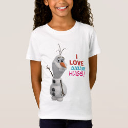 Girls' Fine Jersey T-Shirt with Frozen's Olaf: I Love Warm Hugs design
