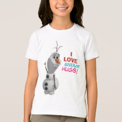 Girls' American Apparel Fine Jersey T-Shirt with Frozen's Olaf: I Love Warm Hugs design