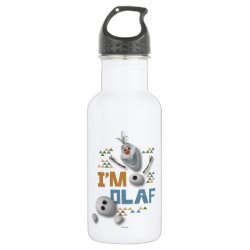 Water Bottle (24 oz) with Funny: Olaf in Pieces design