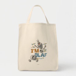Grocery Tote with Funny: Olaf in Pieces design
