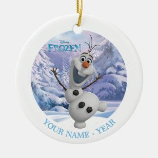 Olaf Personalized Double-Sided Ceramic Round Christmas Ornament