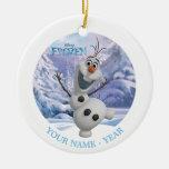 Olaf personalizó adorno navideño redondo de cerámica
