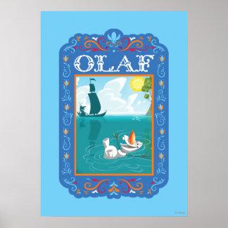 Olaf que flota en el agua póster