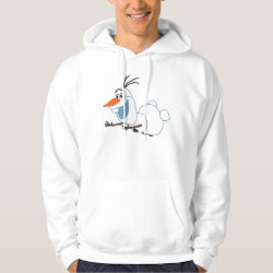 Men's Basic Hooded Sweatshirt with Frozen's Olaf the Snowman Sliding design