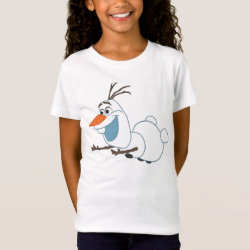 Girls' Fine Jersey T-Shirt with Frozen's Olaf the Snowman Sliding design