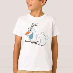 Kids' Hanes TAGLESS® T-Shirt with Frozen's Olaf the Snowman Sliding design