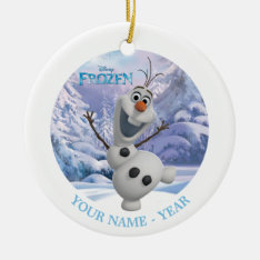 Olaf | Snowflake Background Add Your Name Ceramic Ornament at Zazzle