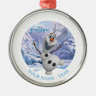 Olaf | Snowflake Background Add Your Name Metal Ornament