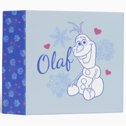Avery Signature 1' Binder with Cute Frozen's Olaf Line Drawing with Snowflakes and Hearts design