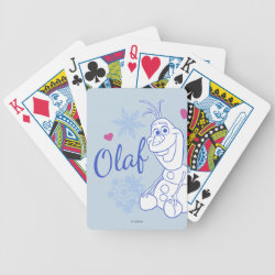 Playing Cards with Cute Frozen's Olaf Line Drawing with Snowflakes and Hearts design