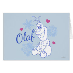 Greeting Card with Cute Frozen's Olaf Line Drawing with Snowflakes and Hearts design