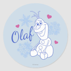 Round Sticker with Cute Frozen's Olaf Line Drawing with Snowflakes and Hearts design