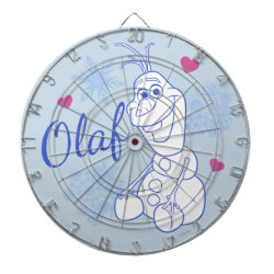 Megal Cage Dart Board with Cute Frozen's Olaf Line Drawing with Snowflakes and Hearts design