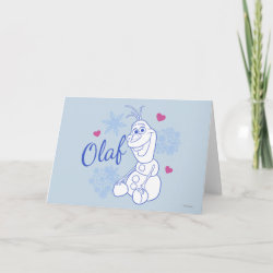 Standard Holiday Card with Cute Frozen's Olaf Line Drawing with Snowflakes and Hearts design