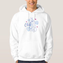 Men's Basic Hooded Sweatshirt with Cute Frozen's Olaf Line Drawing with Snowflakes and Hearts design