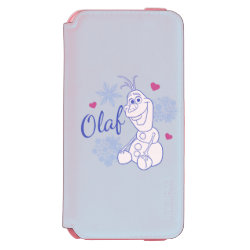 Incipio Watson™ iPhone 6 Wallet Case with Cute Frozen's Olaf Line Drawing with Snowflakes and Hearts design