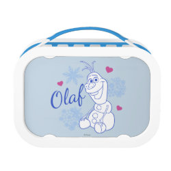 Blue yubo Lunch Box with Cute Frozen's Olaf Line Drawing with Snowflakes and Hearts design