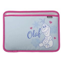 Macbook Air Sleeve with Cute Frozen's Olaf Line Drawing with Snowflakes and Hearts design