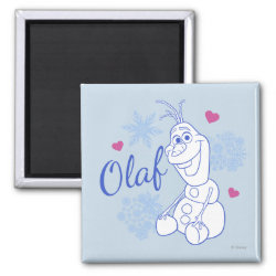 Square Magnet with Cute Frozen's Olaf Line Drawing with Snowflakes and Hearts design