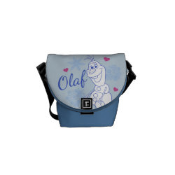 Rickshaw Mini Zero Messenger Bag with Cute Frozen's Olaf Line Drawing with Snowflakes and Hearts design