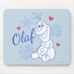 Mousepad with Cute Frozen's Olaf Line Drawing with Snowflakes and Hearts design