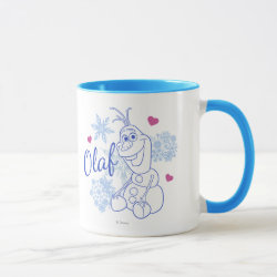Combo Mug with Cute Frozen's Olaf Line Drawing with Snowflakes and Hearts design