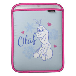 iPad Sleeve with Cute Frozen's Olaf Line Drawing with Snowflakes and Hearts design
