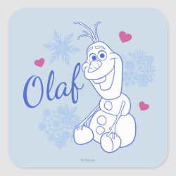 Square Sticker with Cute Frozen's Olaf Line Drawing with Snowflakes and Hearts design