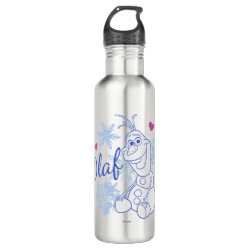 Water Bottle (24 oz) with Cute Frozen's Olaf Line Drawing with Snowflakes and Hearts design