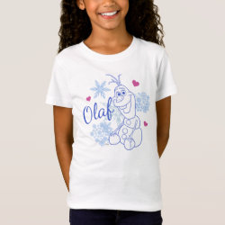 Girls' Fine Jersey T-Shirt with Cute Frozen's Olaf Line Drawing with Snowflakes and Hearts design