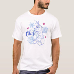 Men's Basic T-Shirt with Cute Frozen's Olaf Line Drawing with Snowflakes and Hearts design