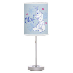 Table Lamp with Cute Frozen's Olaf Line Drawing with Snowflakes and Hearts design