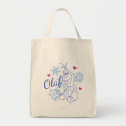 Grocery Tote with Cute Frozen's Olaf Line Drawing with Snowflakes and Hearts design