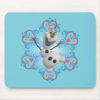 Olaf with Heart Frame Mouse Pad