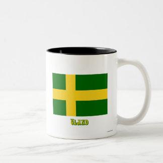 Öland flag with name (unofficial) Two-Tone coffee mug