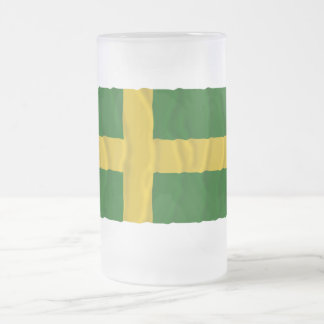 Öland waving flag (unofficial) frosted glass beer mug