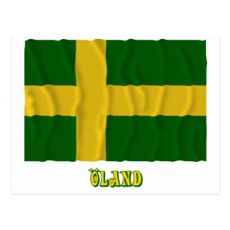 Öland waving flag with name (unofficial) postcard