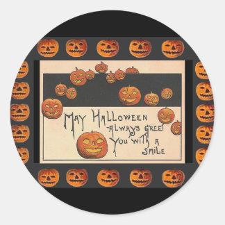 o'Lanterns sonrientes de Halloween Jack del Etiqueta Redonda
