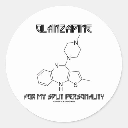 Olanzapine para mi doble personalidad (química) pegatina redonda