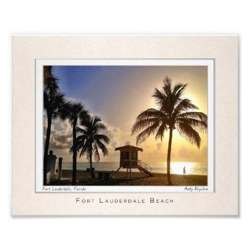 Olas de Las por la playa Impresión Fotográfica