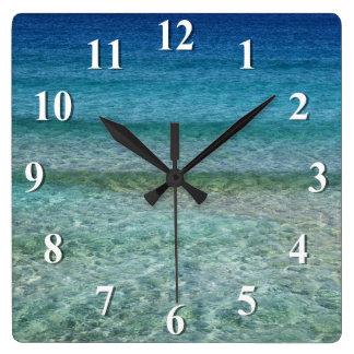 Olas oceánicas apacibles de relajación reloj cuadrado